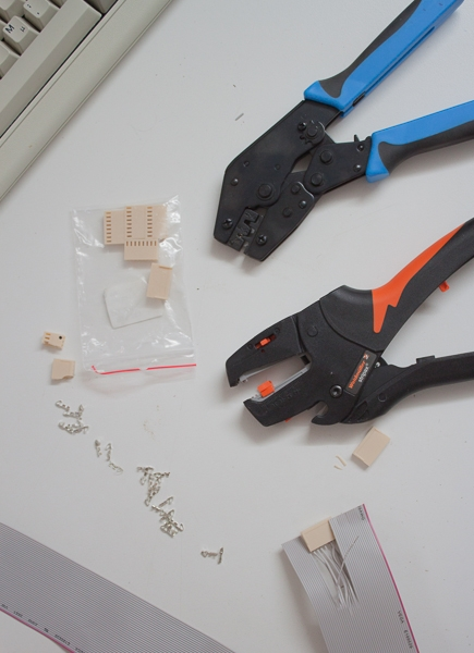 BlinkenBone connection tools: flat cable stripper and connector crimper